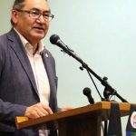 MP Romeo Saganash greets Pilgrimage for Indigenous Rights in Perth