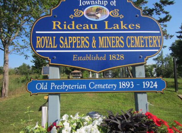 Royal Sappers & Miners Cemetery sign in the township of Rideau Lakes.