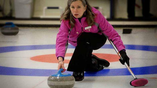 Perth's Donna Hurtubise curling.