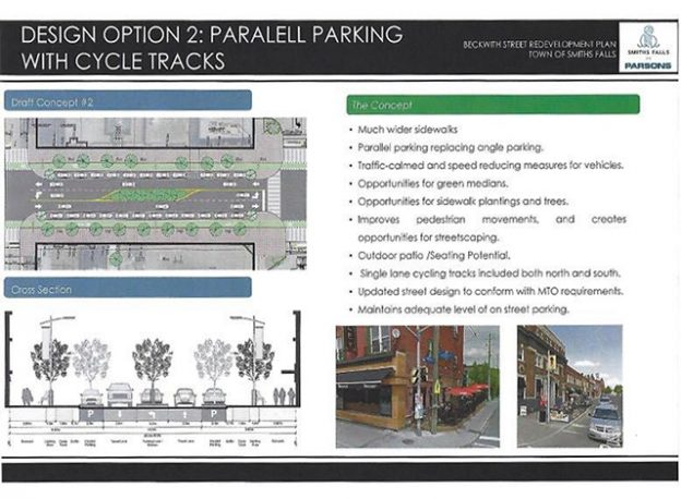 Design option 2: Paralell parking with cycle tracks