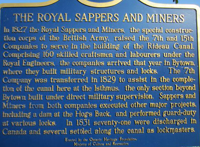 A plaque for the Royal Sappers and Miners.