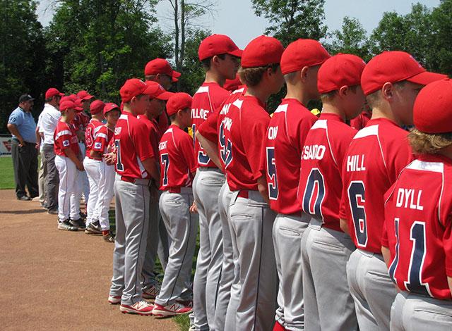 Timmins baseball team lined up.