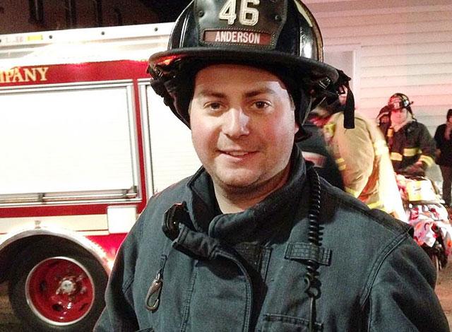 Matt Anderson in his fire fighter uniform.