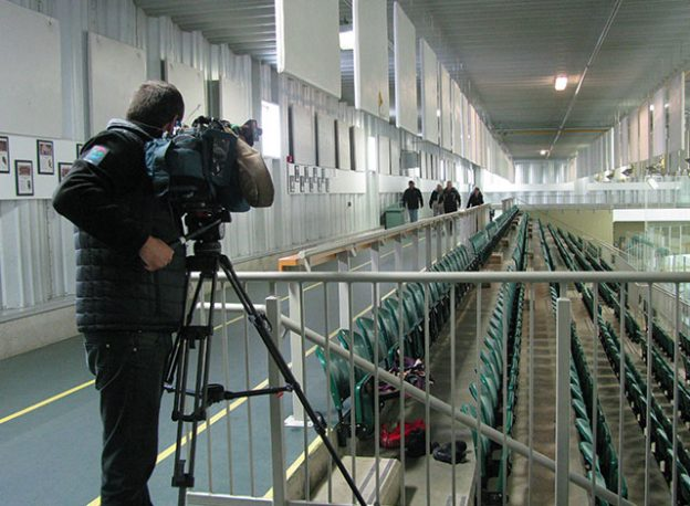 Tom Foulkes, CTV Camera on the run at the Smiths Fall Memorial Community Centre
