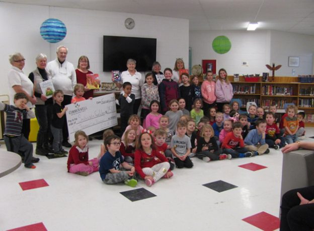 Friends of the Smiths Falls Library presented books to Chimo students on Valentine's Day