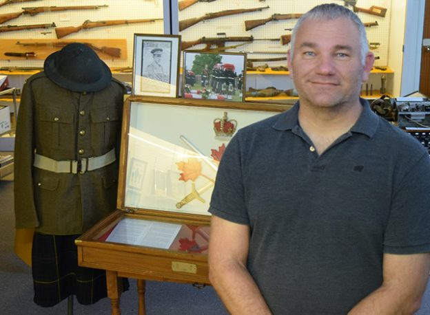 Stacey Niceliu at William Del Donegan display, Hall of Remembrance military museum.
