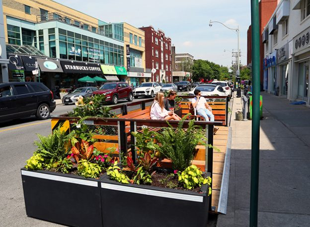 Bench seat patio in the streets