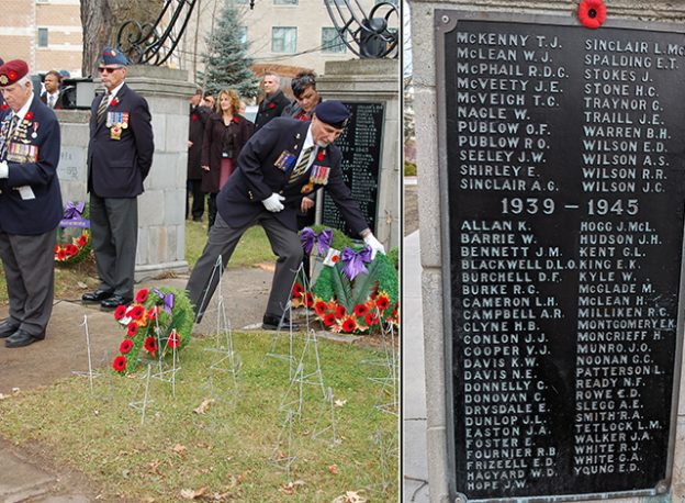 Left: 2015 Remembrance Day ceremonies. Right: Closeup of plaque.