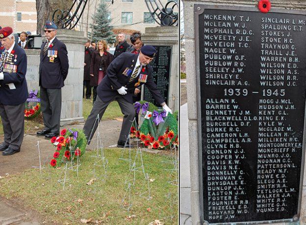 Left: 2015 Remembrance Day ceremonies. Right: Closeup of plaque.