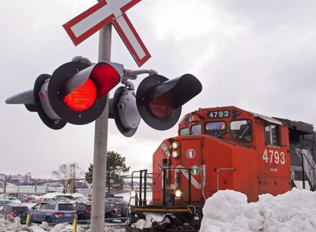 CN Train at railway crossing