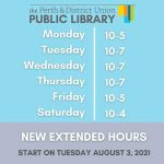 Perth & District Library expands opening hours and services!